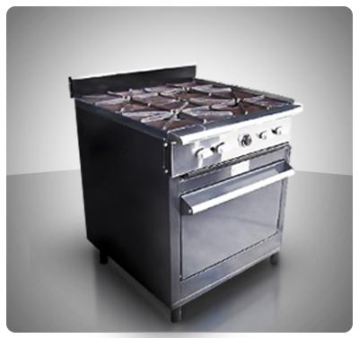 """Cocina Industrial 4 hornillas y Horno """"Horven""""  Mod. 125-E"""