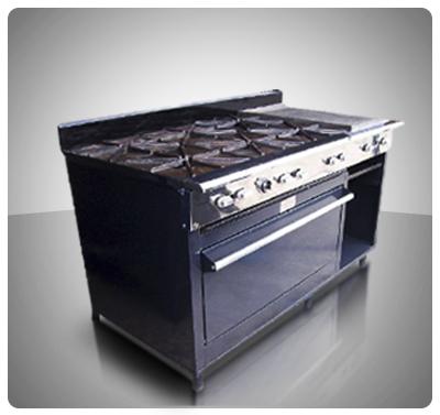 """Cocina Industrial 8 hornillas, Horno, Plancha con Gratinador a Gas """"Horven"""" Mod. 350-E"""