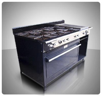 """Cocina Industrial 6 hornillas, Horno, Plancha con Gratinador a Gas """"Horven"""" Mod. 400-E"""