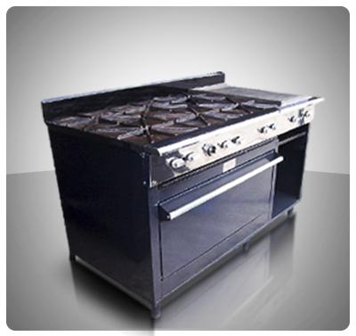 """Cocina Industrial Pesada 6 hornillas, Horno, Plancha con Gratinador a Gas  """"Horven"""" Mod. 400-P"""