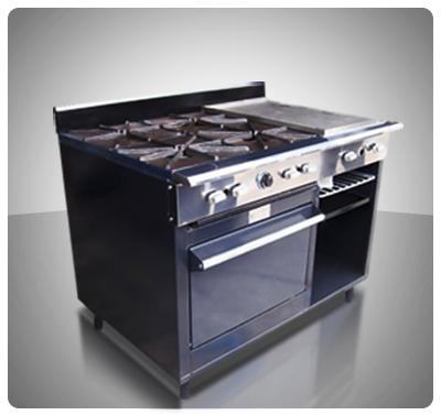 """Cocina Industrial Pesada 4 hornillas, Horno, Plancha con Gratinador a Gas """"Horven"""" Mod. 450-P"""