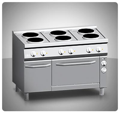 """Cocina Industrial (Eléctrica) 6 Placas  Horno Ventilado """"Ata"""" Italia Mod. K7ECU15FV"""