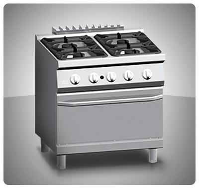 """Cocina Industrial 4 hornillas, Horno ventilado a Gas  """"Ata"""" Italia Mod. K7MCU10FV"""