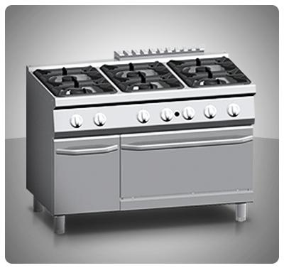 """Cocina Industrial 6 hornillas Horno ventilado a Gas """"Ata"""" Italia Mod. K7MCU15VV"""