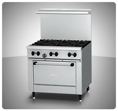 """Cocina Industrial 6 hornillas  1Horno a Gas """"Sunfire"""" Usa  Mod. X36-ER"""