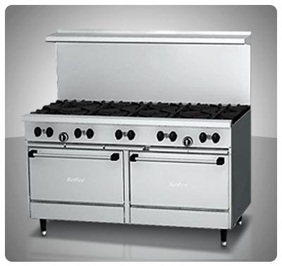 """Cocina Industrial 10 hornillas , 2 Hornos a Gas """"Sunfire"""" Usa Mod. X6010-RR"""