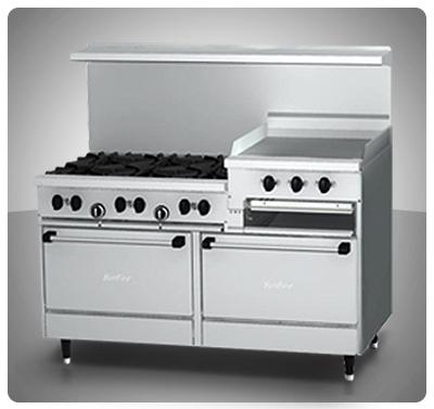 """Cocina Industrial 6 hornillas, 2 Hornos, Plancha y Gratinador a Gas  """"Sunfire"""" Usa Mod. X606-R24RR"""