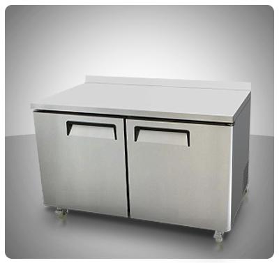 """Mesa de Trabajo Refrigerada (2 Puertas) Con Espaldar – """"I.B.""""  Mod. IBR-8409"""