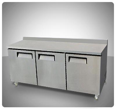 """Mesa de Trabajo Refrigerada (3 Puertas) Con Espaldar – """"I.B."""" Mod. IBR-8411"""